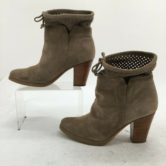 Crown Vintage Ankle Boots Womens 9M Tan Suede Perf